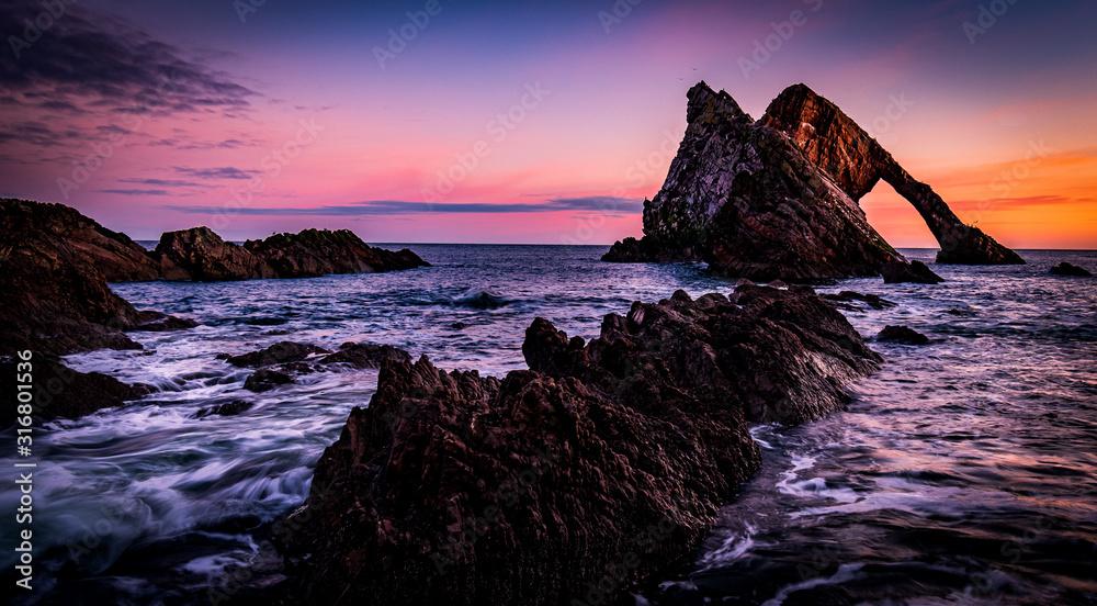 Sunrise at Bow Fiddle Rock - Scotland