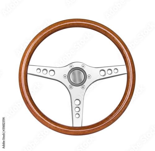 Fotografie, Tablou Sport steering wheel isolated on white
