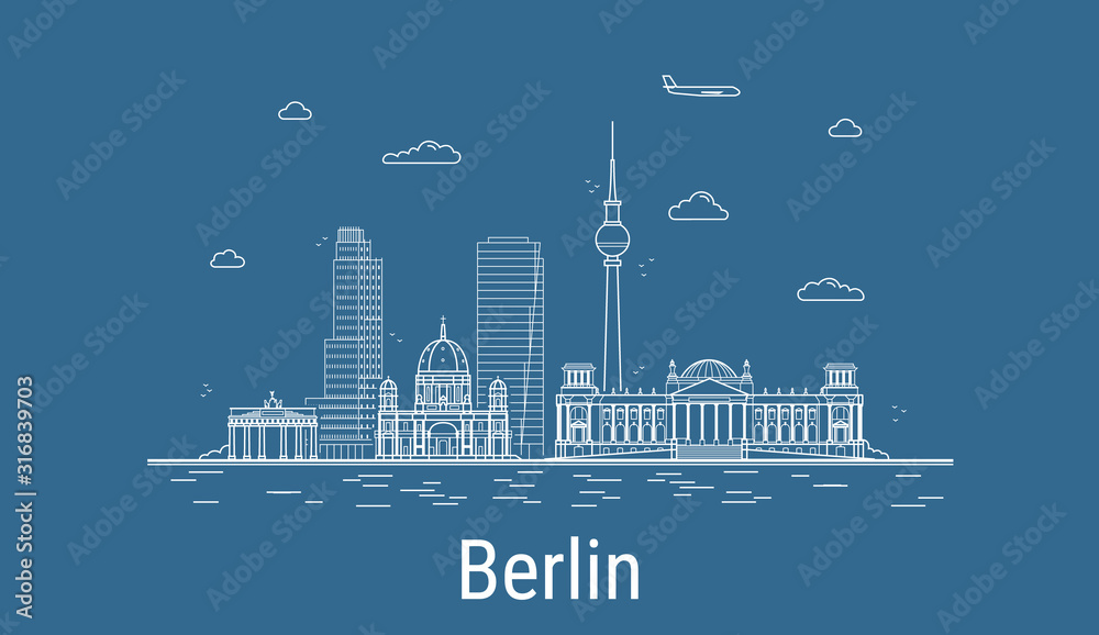 Berlin city, Line Art Vector illustration with all famous buildings. Linear Banner with Showplace. Composition of Modern cityscape. Berlin buildings set. <span>plik: #316839703 | autor: Anastasiia</span>