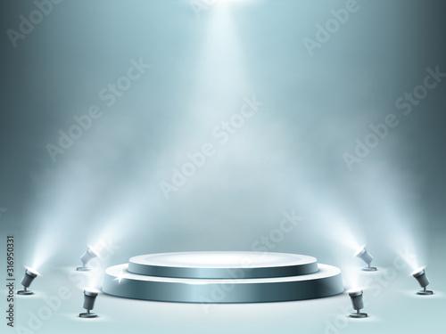 Obraz na płótnie Round podium with smoke effect and spotlight illumination, empty stage for award ceremony, product presentation or fashion show performance, pedestal in nightclub