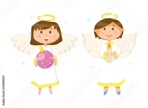 Fotografia Girl holding glossy ball with stars, boy with candle, flying angels with wings a