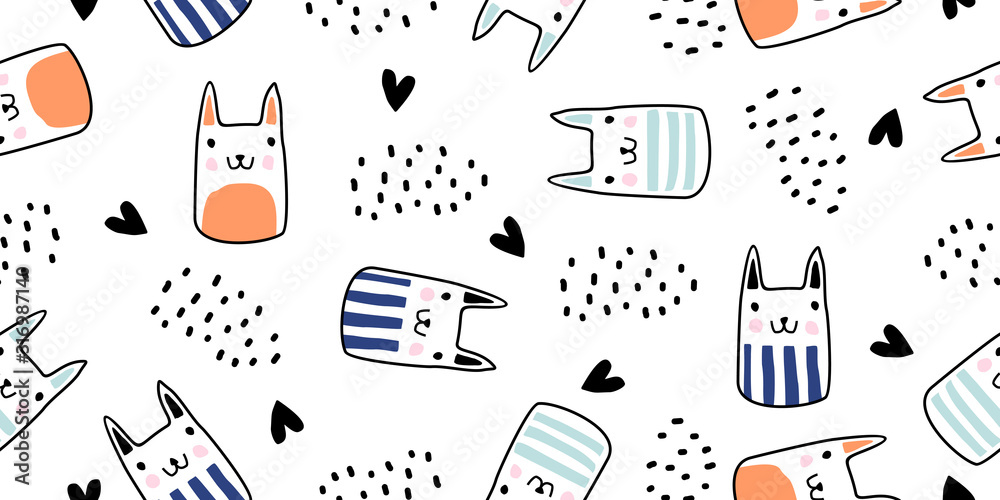 Cats seamless vector pattern with hearts. Cute hand drawn kitten faces. Scandinavian drawing cartoon style with doodle texture. Vector illustration for baby, kids, and children fashion textile print. <span>plik: #316987140   autor: ngupakarti</span>