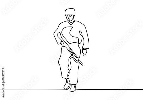 Obraz na plátně Soldier one line drawing