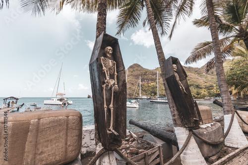 Obraz na płótnie Wallilabou bay, Saint Vincent, Saint Vincent and the Grenadines - Skeletons in c