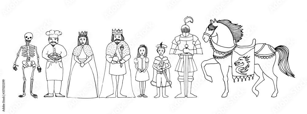 Children's fairytale set of royal family - king, queen, princess, prince, knight, cook, skeleton and horse, vector hand drawn illustration, cartoon ink outline <span>plik: #317025399 | autor: K</span>