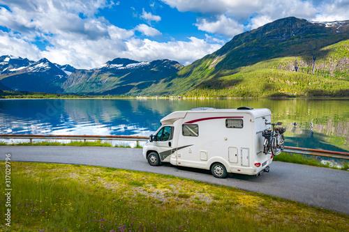 Family vacation travel RV, holiday trip in motorhome Fototapeta