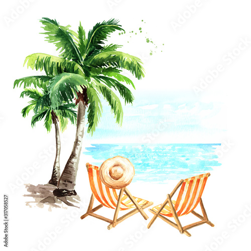 Fototapeta Sun loungers, sun hat and palm trees, summer vacation concept