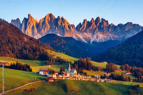 Santa Maddalena (Santa Magdalena) village with magical Dolomites mountains in autumn, Val di Funes valley, Trentino Alto Adige region, South Tyrol, Italy, Europe. Santa Maddalena Village, Italy.