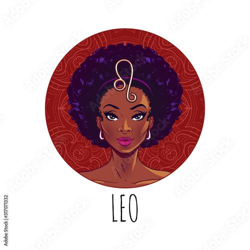 Fototapeta Leo zodiac sign artwork, beautiful girl face, horoscope symbol, star sign, vecto