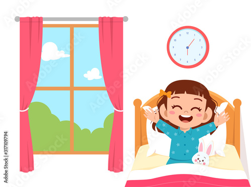 happy cute little kid girl wake up in the morning Fototapeta