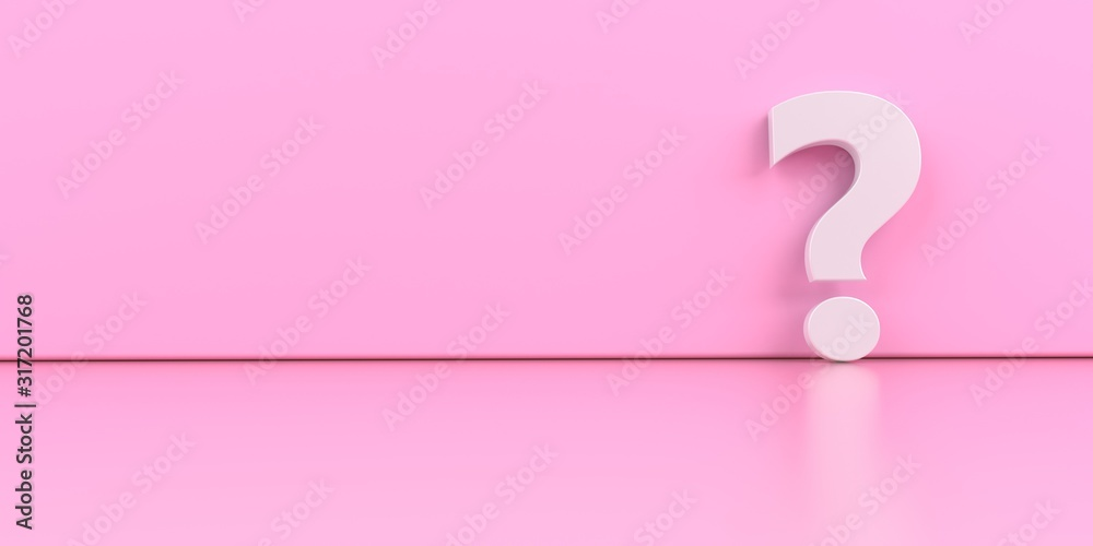 A white question mark on the pink background. 3d illustration. - obrazy, fototapety, plakaty