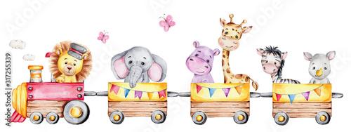 Canvas Print Cartoon train with lion driver and elephant, rhinoceros, giraffe, hippopotamus a