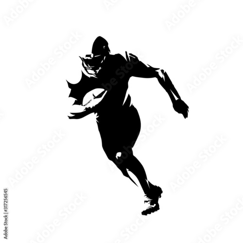 American football player running with ball, isolated vector silhouette Fototapet