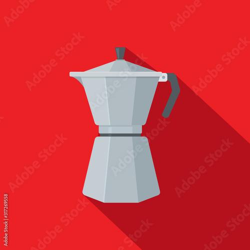 Leinwand Poster Flat Icon Italian Coffee Mocha Maker - Vector Illustration