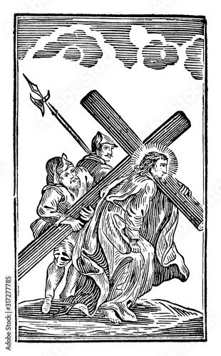 Fotografia, Obraz Antique vintage biblical religious engraving or drawing of 5th or fifth Station of the Cross or Way of the Cross or Via Crucis