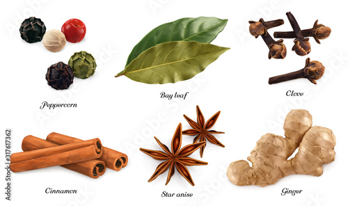 Foto Peppercorn, bay leaf, dried cloves, cassia cinnamon, star anise, ginger root