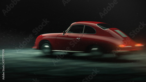 Photo Amazing looking red car on black background, 3d render illustrator