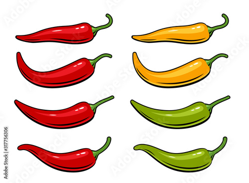 Fotografía Hot chili peppers set isolated on white background