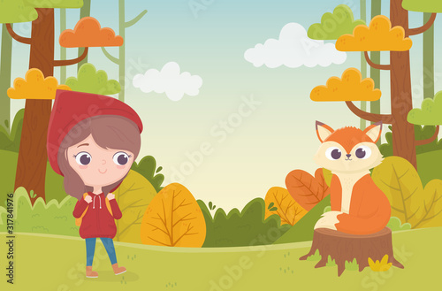 little red riding hood and wolf in trunk forest fairy tale