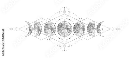 Fotografie, Obraz Magic moon with sacred geometry tattoo design