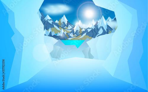 Fototapeta ice cave in the Ice mountain