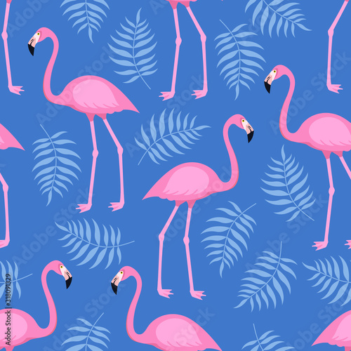 Fototapeta Seamless trendy tropical pattern with pink flamingo birds and tropic areca leaves, summer background