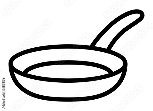 Canvas Print Frying pan skillet or frypan line art vector icon for cooking apps and websites