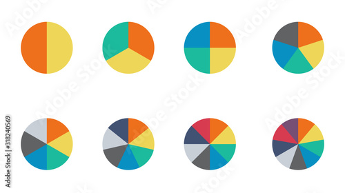 Infographic pie chart set. Cycle collection - 2,3,4,5,6,7 and 8 section. Vector isolated on white background