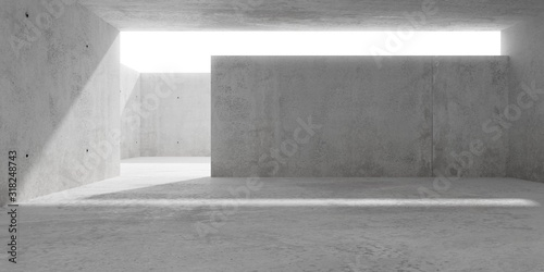 Obraz na płótnie Abstract empty, modern concrete room with sunlight lighting from outside courtya