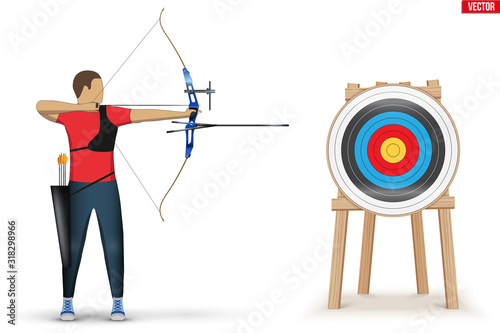 Canvas Print Archer with Bow Archery and Target