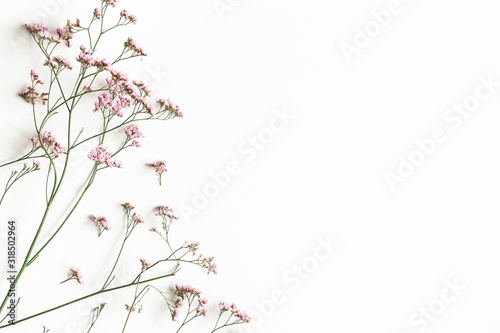 Flowers composition. Pink flowers on white background. Flat lay, top view