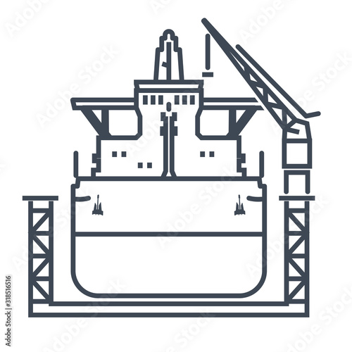 Fotografie, Tablou Thin line icon ship in floating dry dock