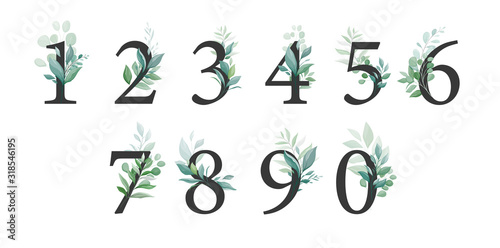 Wallpaper Mural Floral number set with greenery decoration