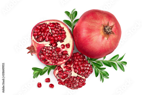 Pomegranate isolated on white background with clipping path and full depth of field. Top view. Flat lay