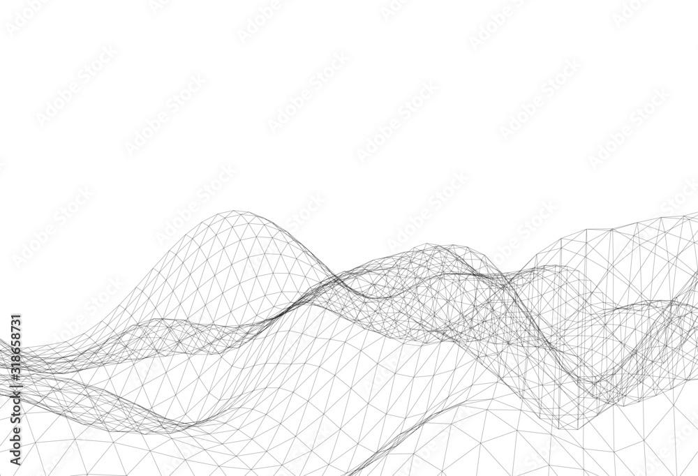 Abstract triangular mesh, background vector illustration <span>plik: #318658731 | autor: Yurii Andreichyn</span>