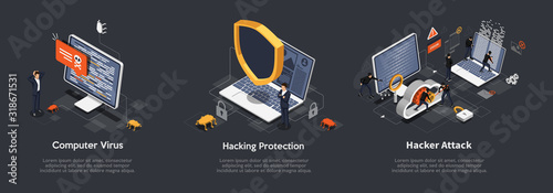 Fotografia Set of Isometric hacking concept