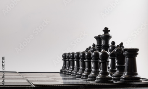 Photo Full Frame Shot Of Chess Pieces On Board