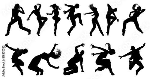 Obraz na płótnie A set of men and women street dance hip hop dancers in silhouette