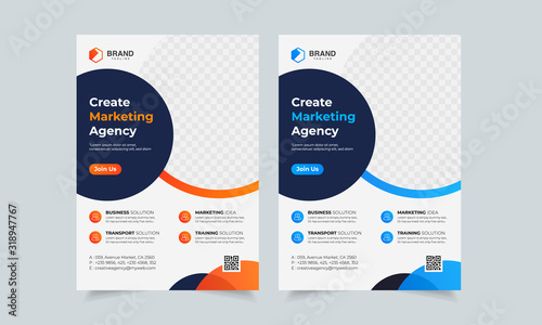 Stampa su Tela Business Flyer Corporate Flyer Template Geometric shape Flyer Circle Abstract Co