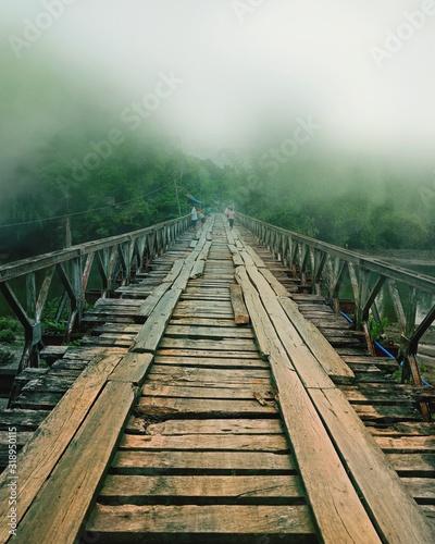 Footbridge During Foggy Weather Fototapet