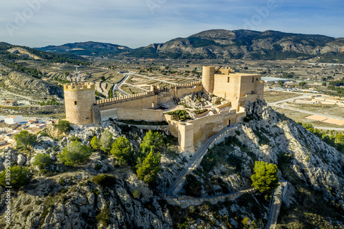 Obraz na plátně Aerial view of Castalla castle in Valencia province Spain with donjon towering o