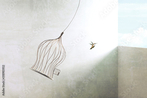 Fotografie, Tablou little bird flying out of birdcage