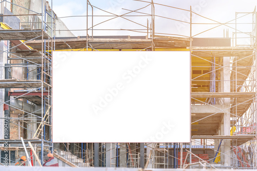 Wallpaper Mural construction site with scaffold and building mock-up