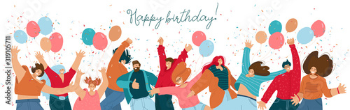Happy birthday concept with celebrating cheerful, joyfull people with baloons, raided hands, smiling and confetti. Happy people dance and celebrate frends birthday. festivity people