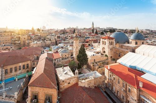 Stampa su Tela Church of the Holy Sepulcher, Jerusalem, Israel. Top view.