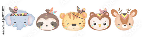 Photo adorable animals illustration for personal project,background, invitation, wallp