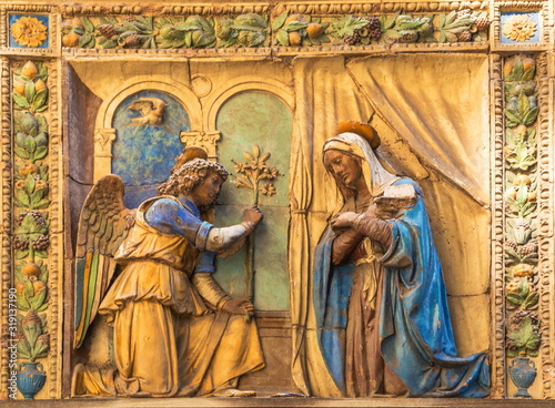 Canvas Print Bas-relief of  Annunciation on  wall of  Cathedral of Santa Maria del Fiore in F