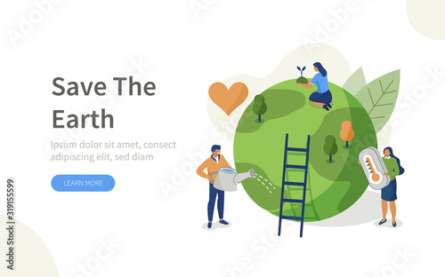 People Characters trying to Save Planet Earth.Woman and Man Planting and Watering Trees, Measuring Planet Temperature. Global Warming and Climate Change Concept. Flat Isometric Vector Illustration. #319155599
