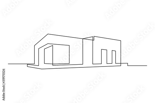 Canvastavla Modern flat roof house or commercial building in continuous line art drawing style