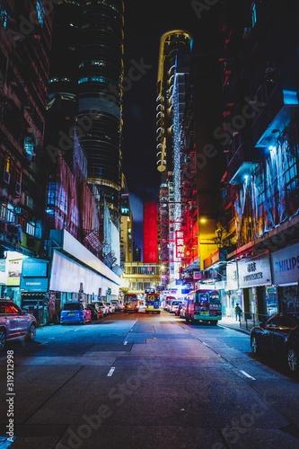 Wallpaper Mural Street In Illuminated City At Night